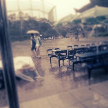 The rain chucking it down in Suwon!
