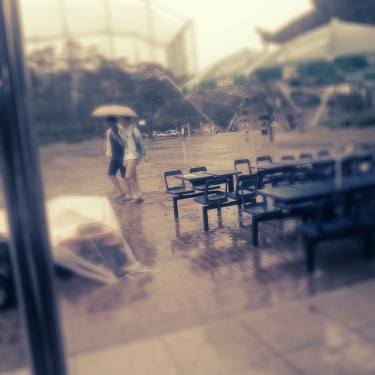 The rain chucking it down in Suwon!