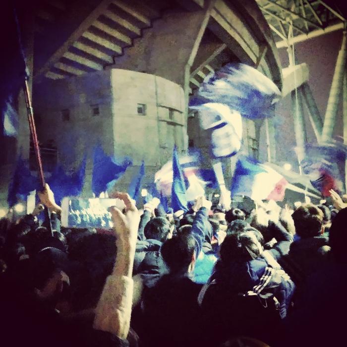 Suwon fans celebrate the 2-1 victory