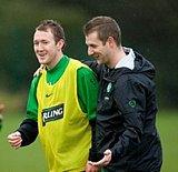 Dan training with Celtic's Aiden McGeady